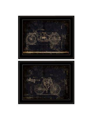 Motor Bike Patent I II 2-Piece Vignette by Cloverfield Co, Black Frame, 15