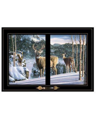 Morning View Deer by Kim Norlien, Ready to hang Framed Print, Black Frame, 20