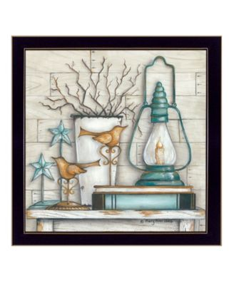Lantern on Books By Mary June, Printed Wall Art, Ready to hang, White Frame, 14