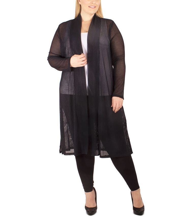NY Collection - Plus Size Semi-Sheer Duster Cardigan