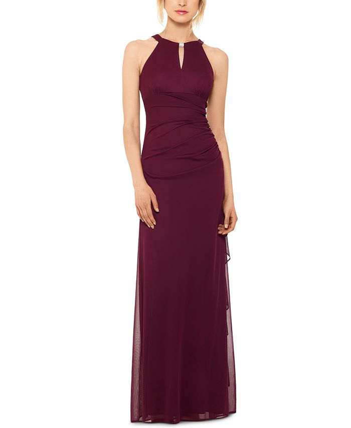 Betsy Adam B A By Betsy And Adam Ruched Halter Gown Reviews Dresses Women Macy S