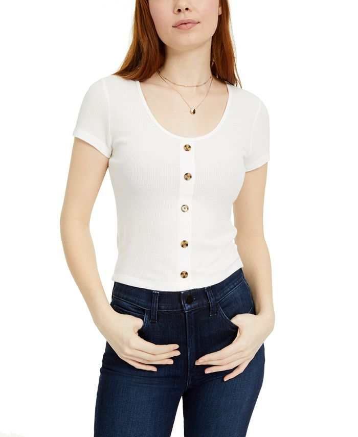 Hippie Rose - Juniors' Button-Trimmed Waffle-Knit Top