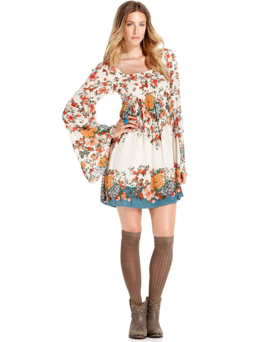 Free People Long Sleeve Scoop Neck Floral Print Dress   Dresses   Women