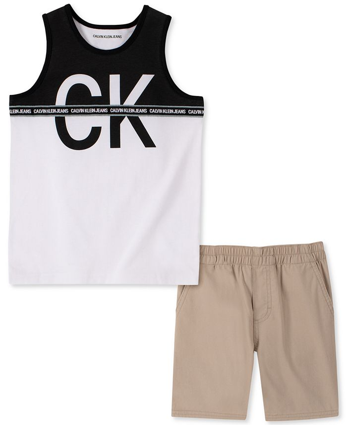 Calvin Klein - Little Boys 2-Pc. Colorblocked Logo Tank & Shorts Set