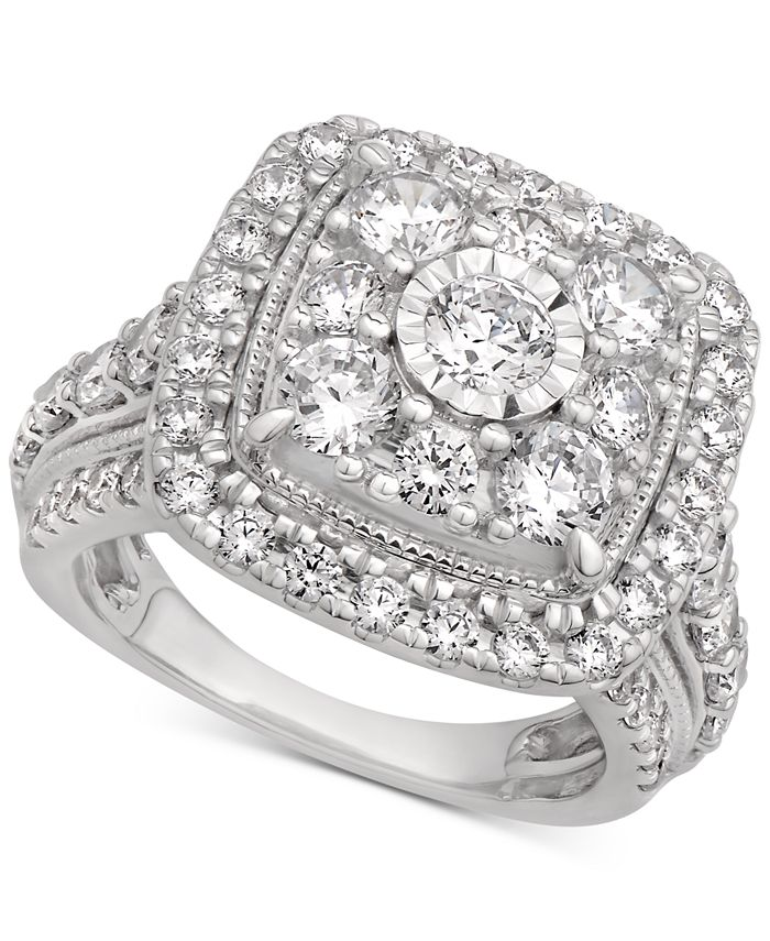 Macy's - Certified Cluster Halo Engagement Ring (3 ct. t.w.) in 14k White Gold