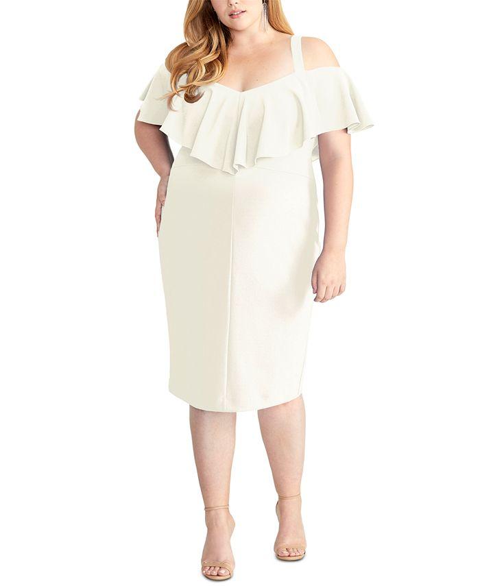 RACHEL Rachel Roy - Plus-Size Marcella Flounce Cold-Shoulder Dress