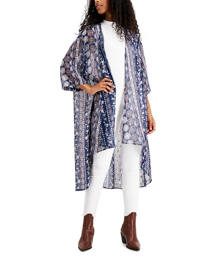 Gypsies & Moondust - Juniors' Foil-Printed High-Low Kimono