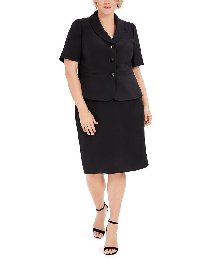 Le Suit - Plus Size Three-Button Shawl-Collar Jacket and Skimmer Skirt