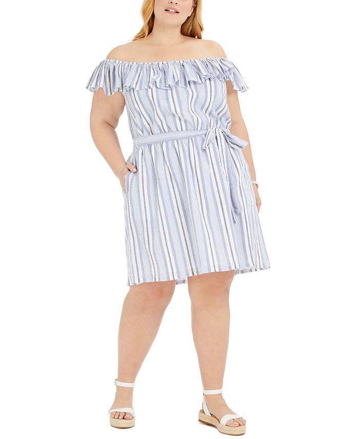 Michael Kors - Plus Size Striped Off-The-Shoulder Dress