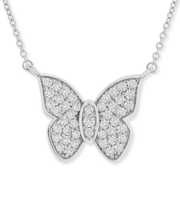 """Wrapped in Love - Diamond Butterfly 20"""" Pendant Necklace (1/2 ct. t.w.) in 14k White Gold"""