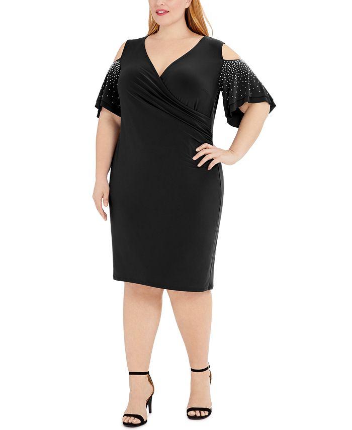MSK - Plus Size Embellished Cold-Shoulder Sheath Dress