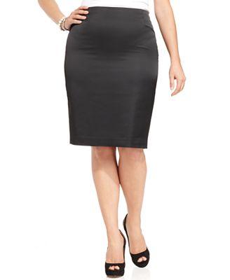 nipon boutique plus size skirt stretch satin pencil