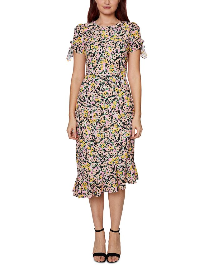 Betsey Johnson - Floral-Print Embellished Tie-Sleeve Dress