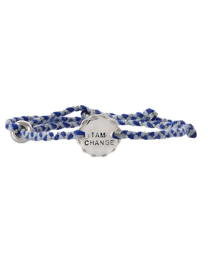 Girl Rising - Sterling Silver and Blue Thread Bracelet - I am Change