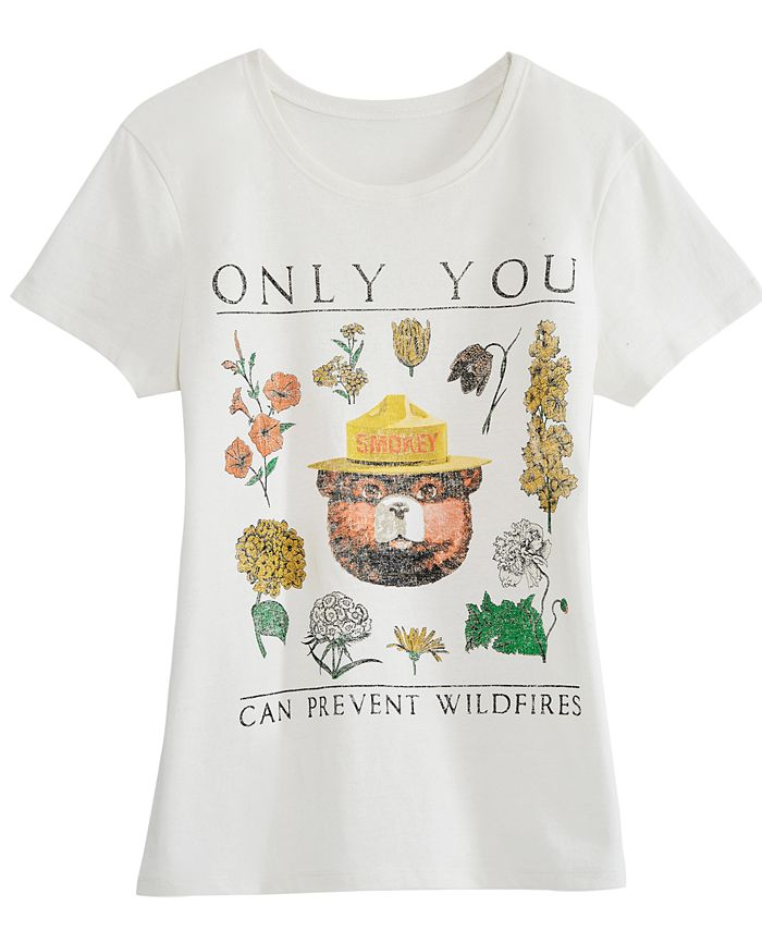 Hybrid - Juniors' Cotton Smokey Bear Graphic T-Shirt