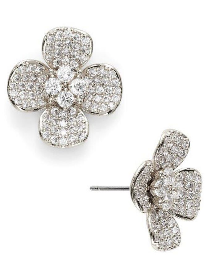Eliot Danori - Cubic Zirconia Pavé Flower Stud Earrings