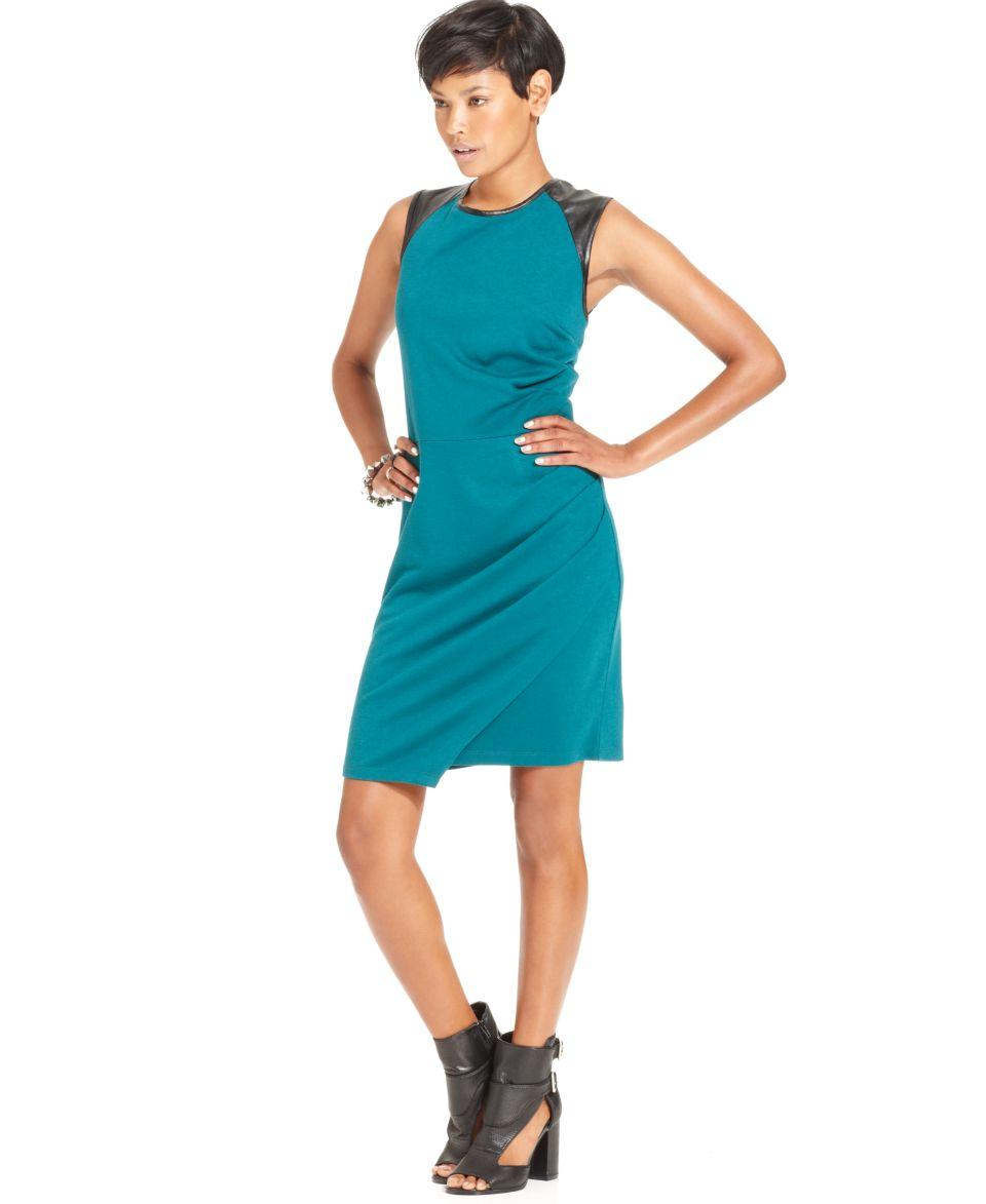 W118 by Walter Baker Dress, Sleeveless High Neck Faux Leather Sheath   Dresses   Women