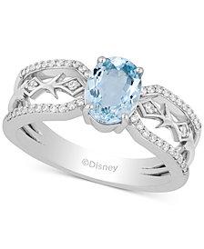 Enchanted Disney Aquamarine (1 ct. t.w.) & Diamond (1/5 ct. t.w.) Elsa Ring in Sterling Silver