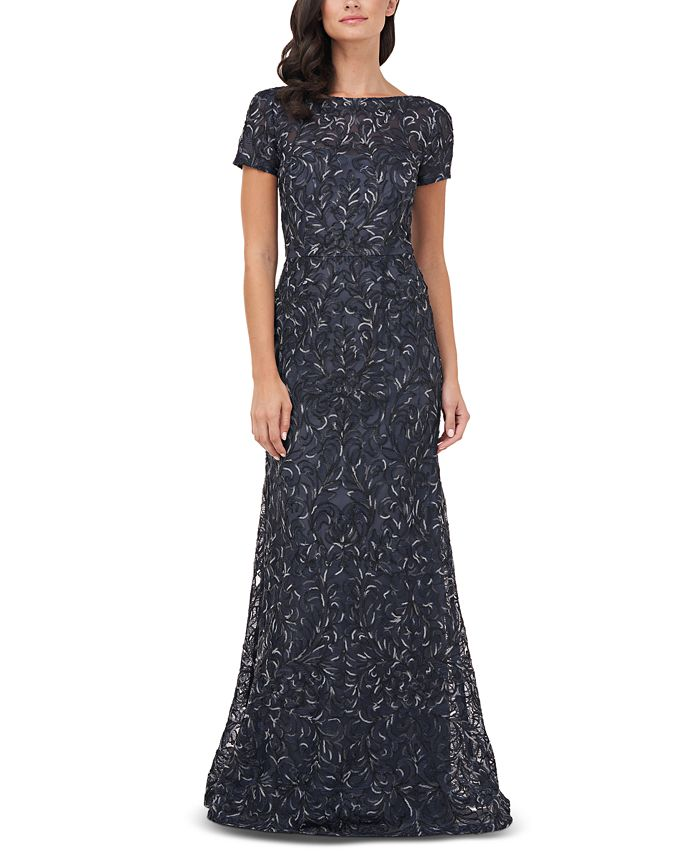 JS Collections - Textured Embroidered Gown