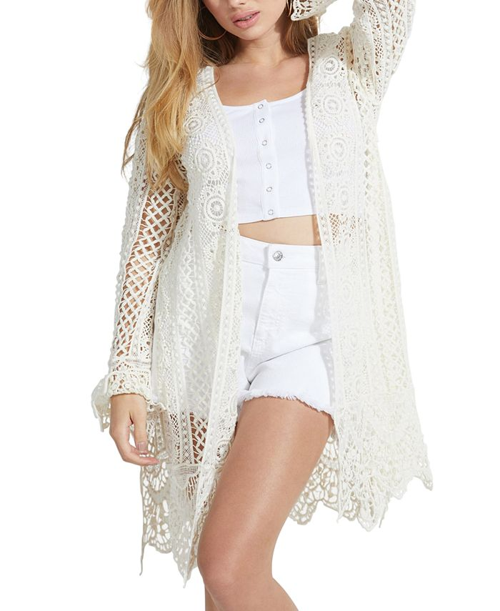 GUESS - Lilja Cotton Crocheted Open-Front Cardigan