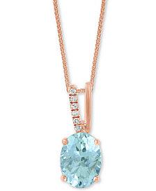 "LALI Jewels Aquamarine (1-1/16 ct. t.w.) & Diamond Accent 18"" Pendant Necklace in 14k Rose Gold"