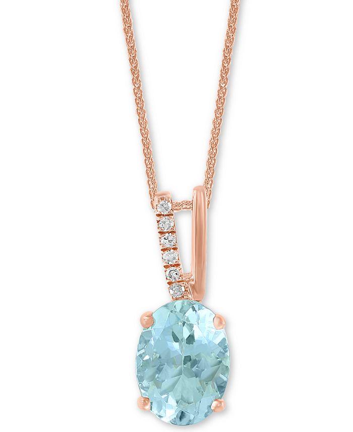 "LALI Jewels - Aquamarine (1-1/16 ct. t.w.) & Diamond Accent 18"" Pendant Necklace in 14k Rose Gold"