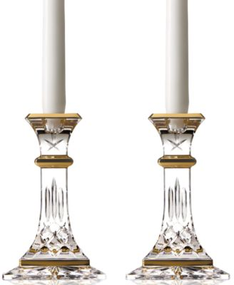 Waterford Gifts, Lismore Gold Candlestick Pair 6""