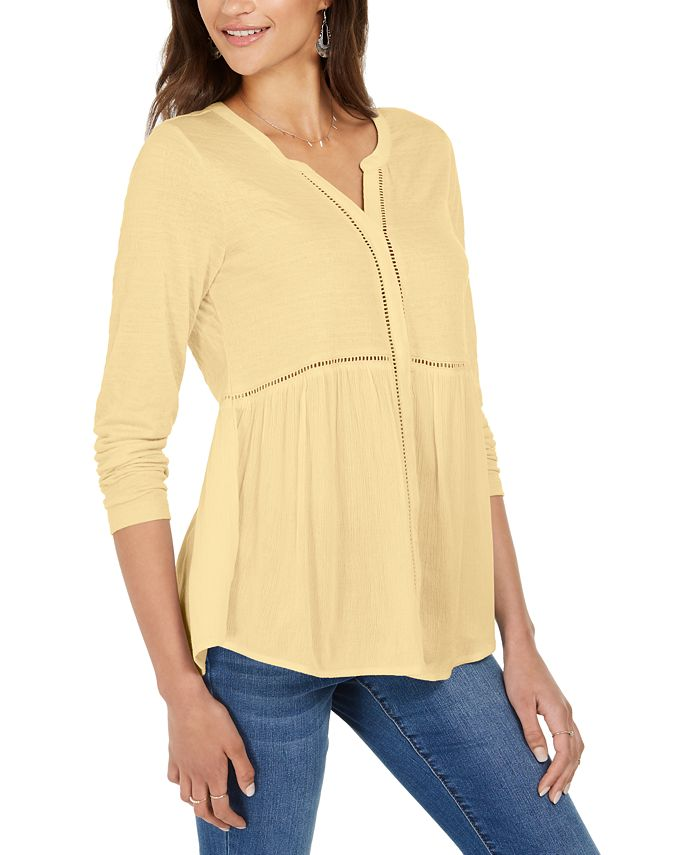 Style Co V Neck Mixed Woven Top Created For Macy S Reviews Tops Women Macy S
