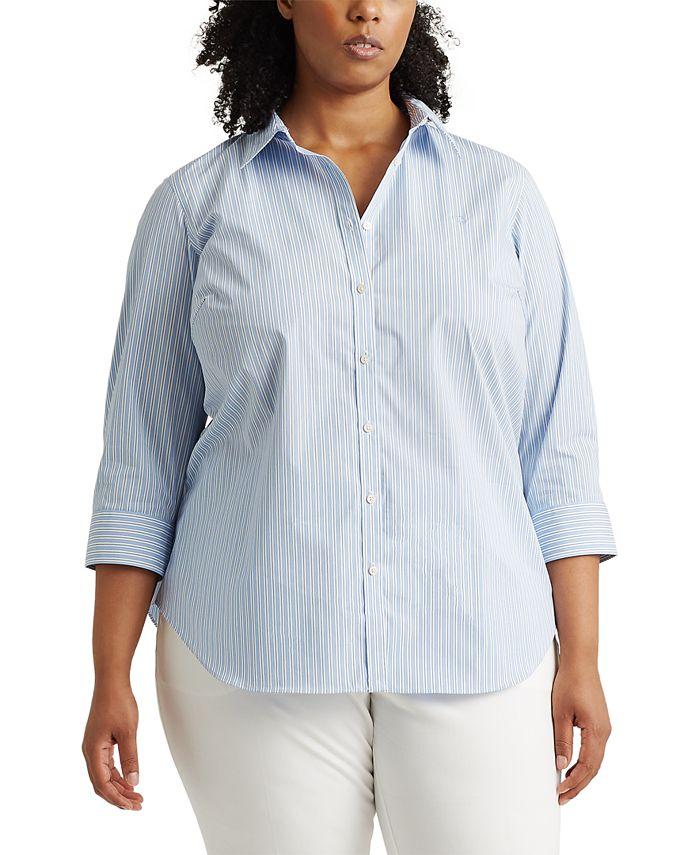 Lauren Ralph Lauren - Plus-Size Striped Easy Care Shirt
