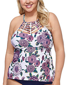 Raisins Curve Trendy Plus Size Juniors' Wild Romance Boa Tankini Top