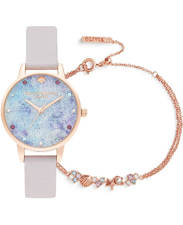 Olivia Burton Women's Under The Sea Pearly Lilac Leather Strap Watch 34mm Gift Set