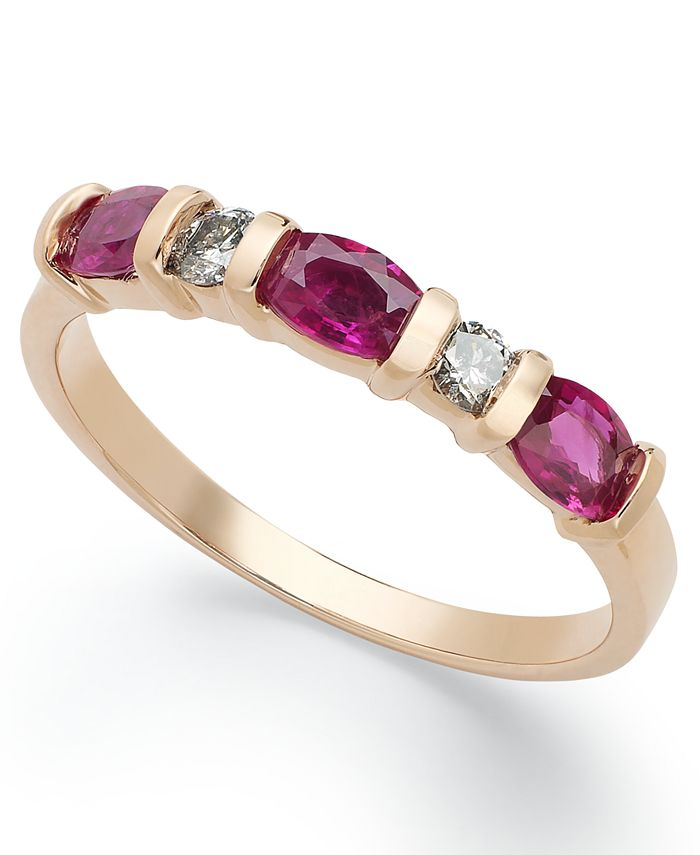 Macy's - 14k Rose Gold Ring, Ruby (1 ct. t.w.) and Diamond (1/8 ct. t.w.) Ring