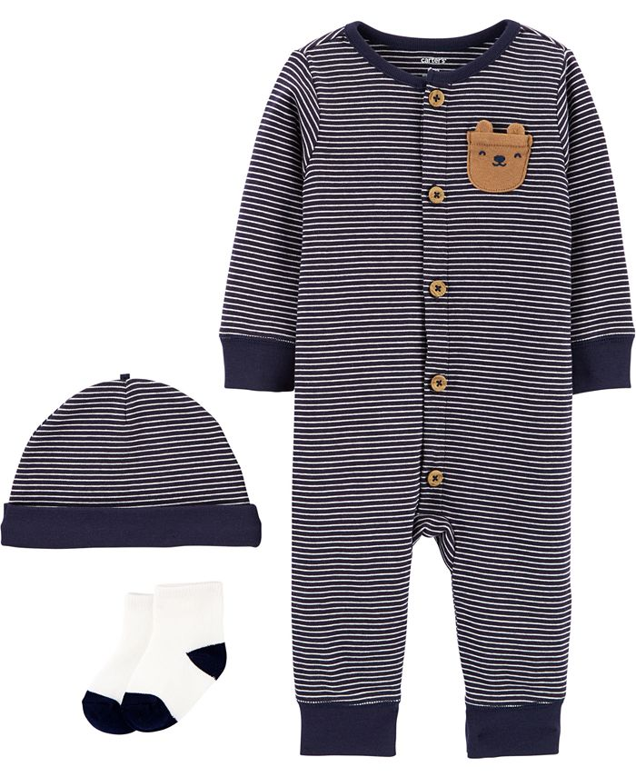 Carter's - Baby Boys 3-Pc. Striped Cotton Coverall, Hats & Socks Set