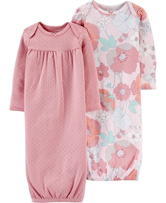 Carter's - Baby Girls 2-Pack Printed Cotton Sleeper Gowns