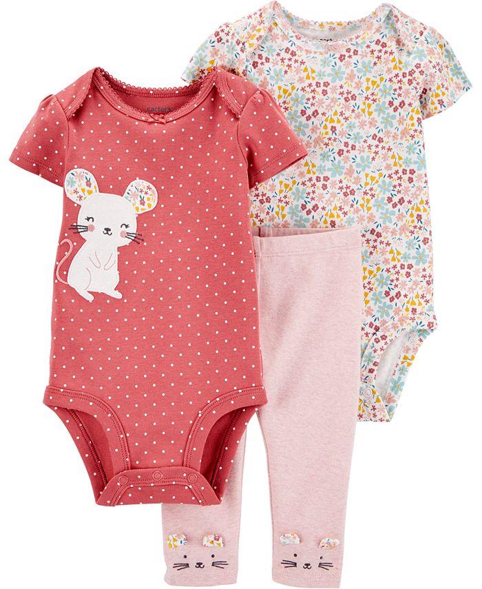 Carter's - Baby Girls 3-Pc. Little Mouse Cotton Bodysuits & Pants Set