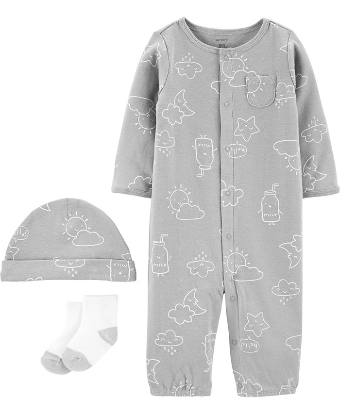 Carter's - Baby Boys or Girls 3-Pc. Printed Cotton Coverall, Hat & Socks Set