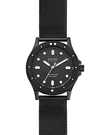 Skagen Women's Fisk Black-Tone Stainless Steel Mesh Bracelet Watch 38mm