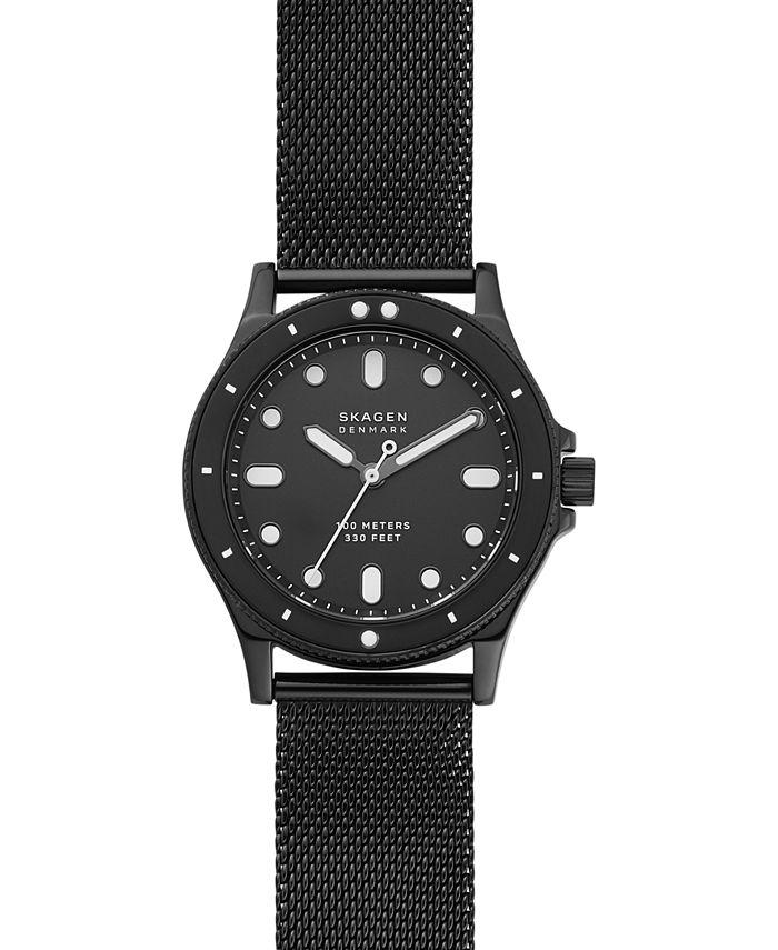 Skagen - Women's Fisk Black-Tone Stainless Steel Mesh Bracelet Watch 38mm