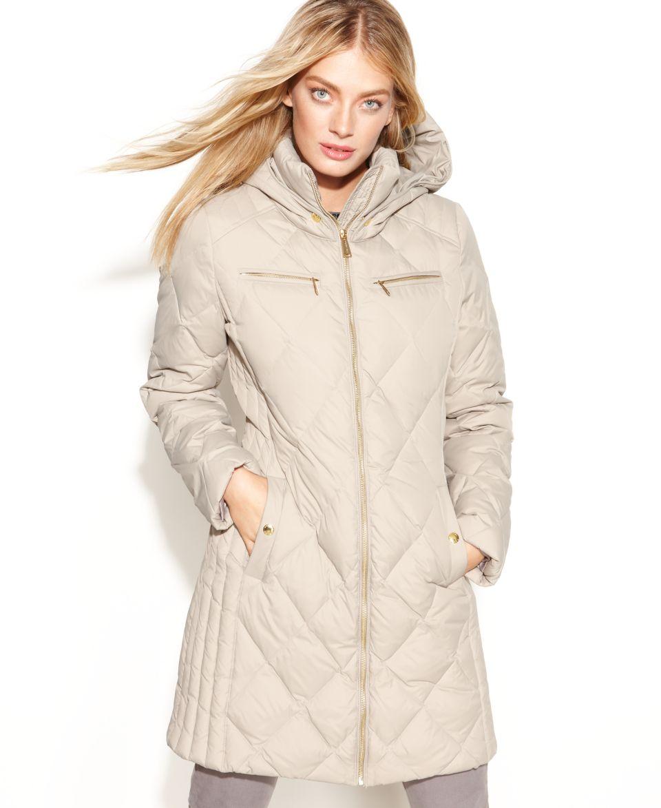 MICHAEL Michael Kors Hooded Diamond Quilted Long Length Puffer Coat   Coats   Women