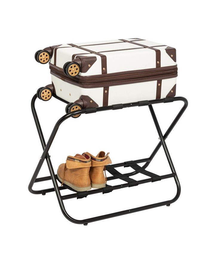 Honey Can Do - Collapsible Black X-Frame Luggage Rack