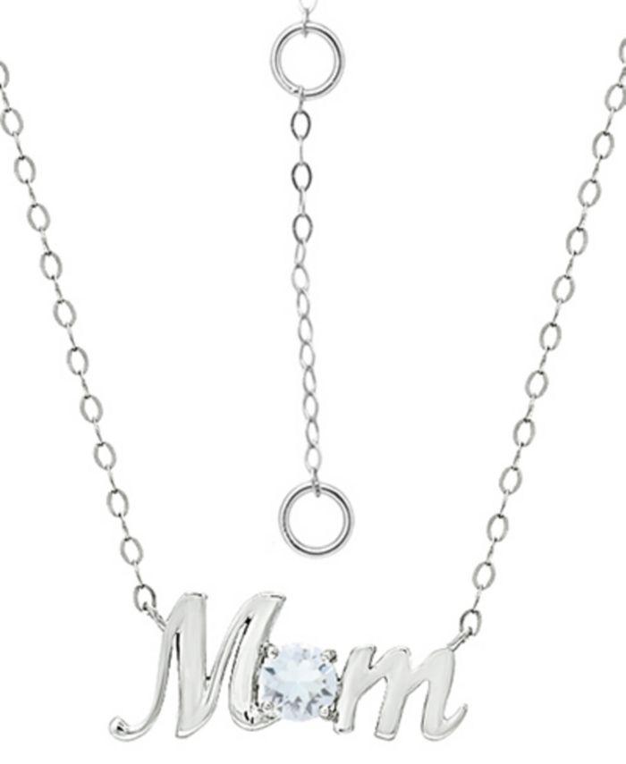 "Giani Bernini - Swarovski Crystal Birth Month ""Mom"" Pendant Necklace in Sterling Silver, 16"" + 2"" extender"