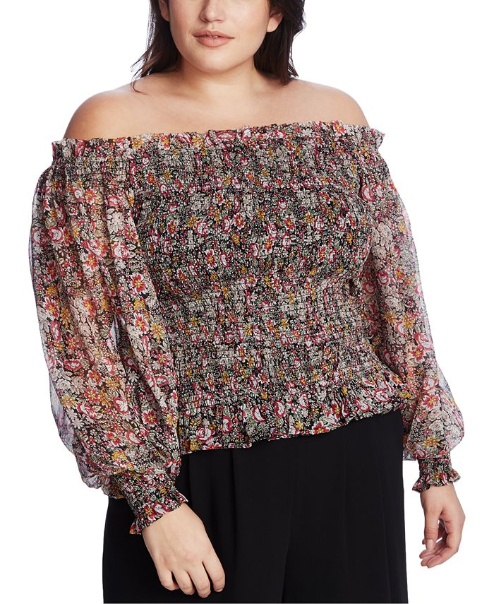 1.STATE - Trendy Plus Size Smocked Off-The-Shoulder Top