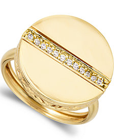 1/8 Ctw Diamond Circle Center Line Ring  in 18k Yellow Gold Over Sterling Silver