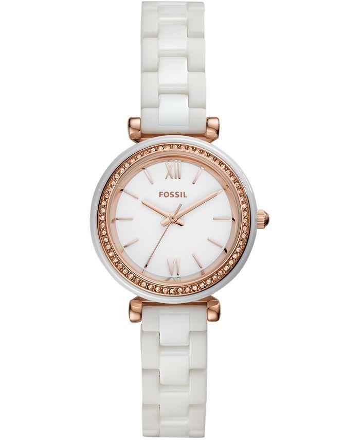 Fossil - Women's Carlie White Ceramic Bracelet Watch 28mm