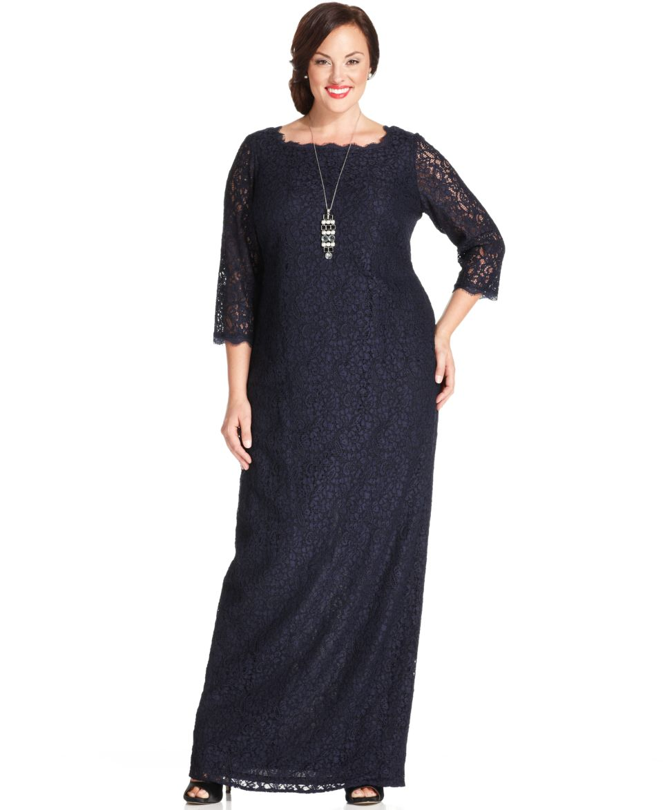 Adrianna Papell Plus Size Three Quarter Sleeve Lace Gown Dresses ...