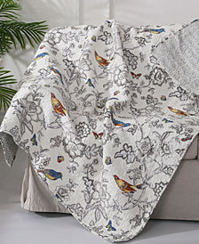 Mockingbird Toile Reversible Quilted Throw