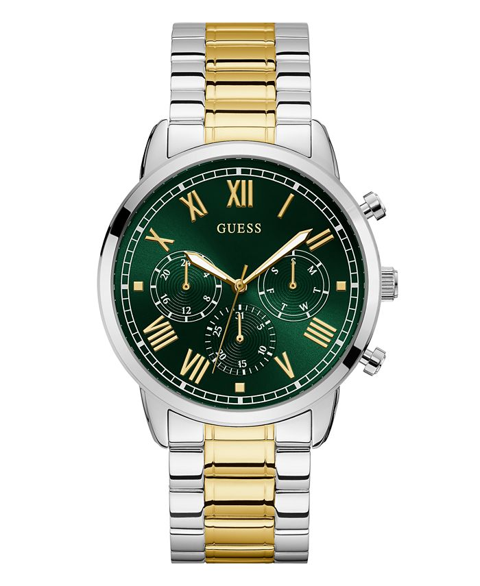 GUESS - Guesss Men's Two-Tone Green Dial Multifunction Watch 44mm