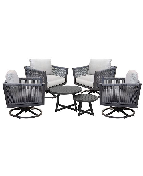 Furniture Braxtyn Outdoor 5 Pc Seating Set 4 Swivel Chairs Round Nesting Coffee Table With Sunbrella Cushions Created For Macy S Reviews Furniture Macy S