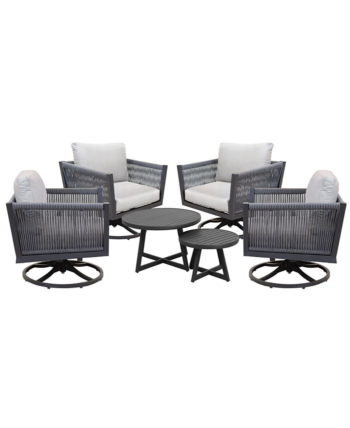 Furniture - Braxtyn Outdoor 5-Pc. Seating Set (4 Swivel Rocker Chairs & Round Nesting Coffee Table) with Sunbrella® Cushions