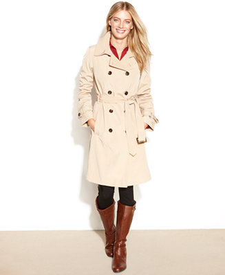 Calvin Klein Coat Double Breasted Belted Trench Coat